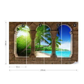 Tropical Beach View Through Stone Arches Photo Wallpaper Wall Mural