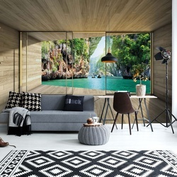 Tropical Lagoon 3D Modern Window View Photo Wallpaper Wall Mural