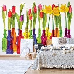 Tulips In Bottles Photo Wallpaper Wall Mural