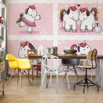 Unicorns Pink Photo Wallpaper Wall Mural