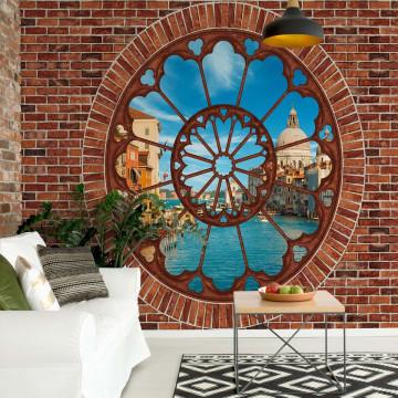 Venice Canal Ornamental Window View Brick Wall Photo Wallpaper Wall Mural