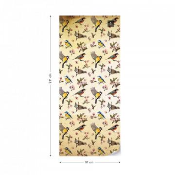 Vintage Bird Pattern Sepia Photo Wallpaper Wall Mural