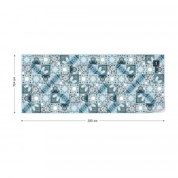 Vintage Blue Tile Pattern Photo Wallpaper Wall Mural