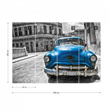 Vintage Car Cuba Havana Blue Photo Wallpaper Wall Mural
