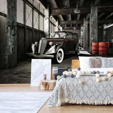 Vintage Car Garage Photo Wallpaper Wall Mural