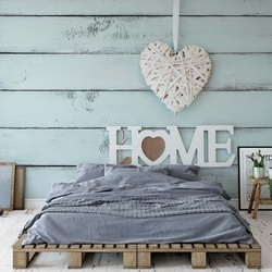 "Vintage Chic ""Home"" Painted Wooden Planks Texture Light Blue Photo Wallpaper Wall Mural"