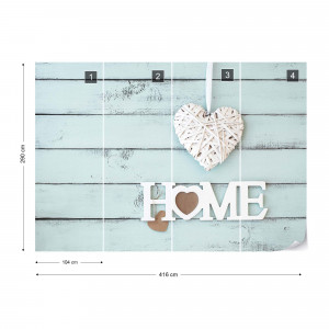 """Vintage Chic Painted Wood Planks Light Blue """"Home"""" Photo Wallpaper Wall Mural"""