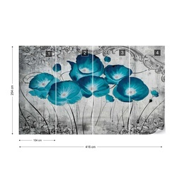 Vintage Flowers Blue Grey Photo Wallpaper Wall Mural