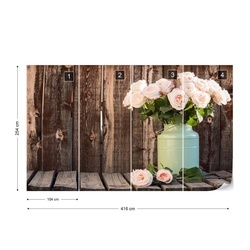 Vintage Flowers Wood Background Photo Wallpaper Wall Mural