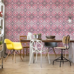 Vintage Tiles Pattern Pink Photo Wallpaper Wall Mural