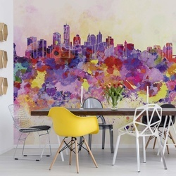 Watercolour City Skyline Photo Wallpaper Wall Mural