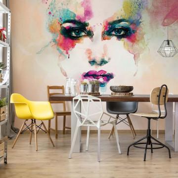 Watercolour Face Photo Wallpaper Wall Mural