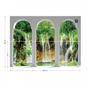 Waterfall Lake 3D Archway View Photo Wallpaper Wall Mural