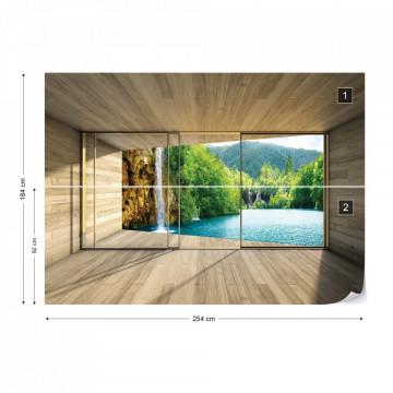 Waterfall Lake 3D Modern Window View Photo Wallpaper Wall Mural