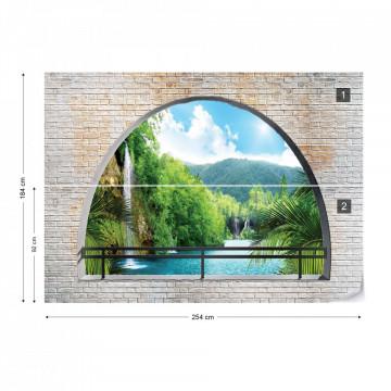 Waterfall Lake Window View Photo Wallpaper Wall Mural