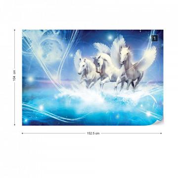 Winged Horses Pegasus Blue Photo Wallpaper Wall Mural