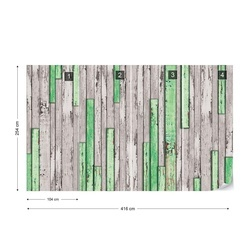 Wood Planks Texture Green And Grey Photo Wallpaper Wall Mural