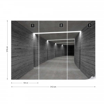 3D Concrete Tunnel Modern Architecture Photo Wallpaper Wall Mural