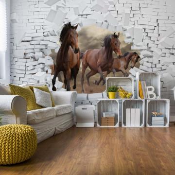 3D Horses Jumping Through Hole In Brick Wall Photo Wallpaper Wall Mural
