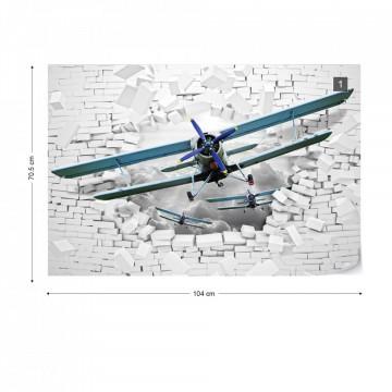 3D Plane Bursting Through Brick Wall Photo Wallpaper Wall Mural