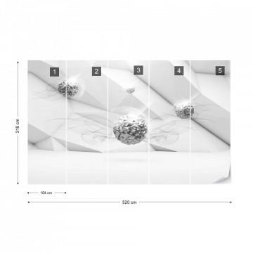 3D Silver Balls Modern Design Photo Wallpaper Wall Mural