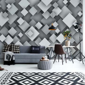3D Squares Grey Photo Wallpaper Wall Mural