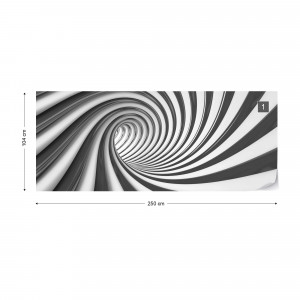 3D Swirl Tunnel Black And White Photo Wallpaper Wall Mural