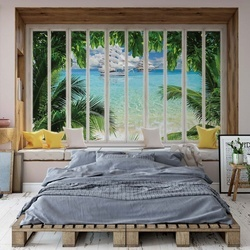 3D Window View Tropical Beach Photo Wallpaper Wall Mural