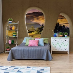 Tuscan Landscape 3D Concrete Arches View Photo Wallpaper Wall Mural