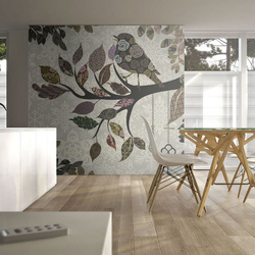 Fototapet - Tree branch with bird (patchwork)