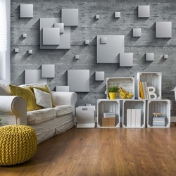 Abstract 3D Design Squares Concrete Photo Wallpaper Wall Mural