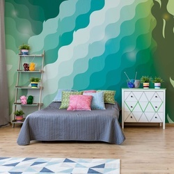 Abstract Modern Green And Blue Pattern Photo Wallpaper Wall Mural