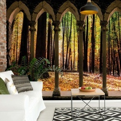 Autumn Forest Stone Archway View Photo Wallpaper Wall Mural