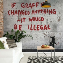Banksy Graffiti Concrete Photo Wallpaper Wall Mural