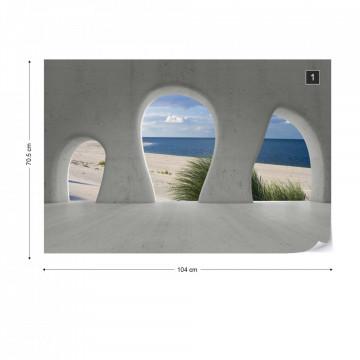 Beach 3D Concrete Arches View Photo Wallpaper Wall Mural