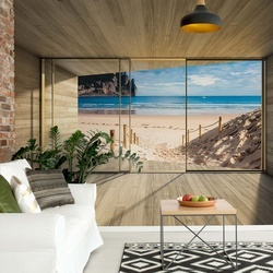 Beach 3D Modern Window View Photo Wallpaper Wall Mural