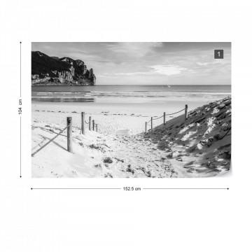 Beach Sea Coastal Black And White Photo Wallpaper Wall Mural