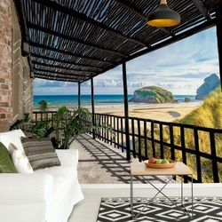 Beach Terrace View Photo Wallpaper Wall Mural