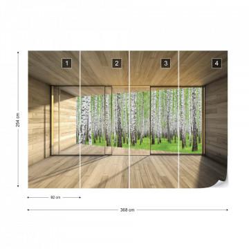 Birch Forest 3D Modern Window View Photo Wallpaper Wall Mural