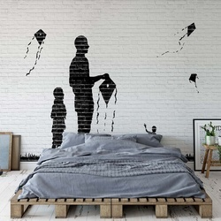 Black And White Brick Wall Graffiti Photo Wallpaper Wall Mural