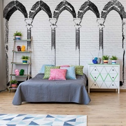 Black And White Stone Archways Photo Wallpaper Wall Mural