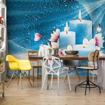 Blue Spa Candles Photo Wallpaper Wall Mural