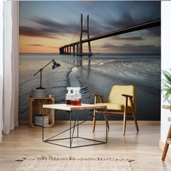 Bridge Beach Modern Architecture Sunset Photo Wallpaper Wall Mural