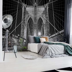 Brooklyn Bridge New York Black And White Photo Wallpaper Wall Mural