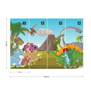 Cartoon Dinosaurs Photo Wallpaper Wall Mural