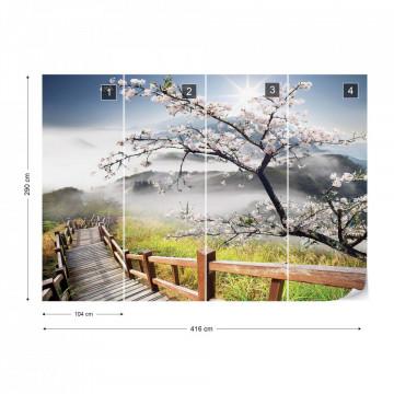 Cherry Blossom Mountain Path Photo Wallpaper Wall Mural