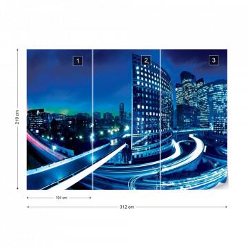 City Skyline At Night Photo Wallpaper Wall Mural