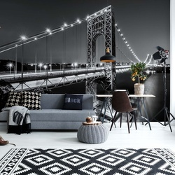 City Skyline Bridge At Night Black And White Photo Wallpaper Wall Mural