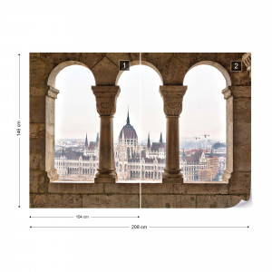 City Skyline Budapest Archway View Photo Wallpaper Wall Mural