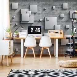 Concrete Squares 3D Photo Wallpaper Wall Mural